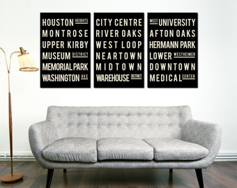 HOUSTON Art, Subway Sign, Houston City Art, Texas State Art, Decor, Typography Art, Print Poster, Home Decor