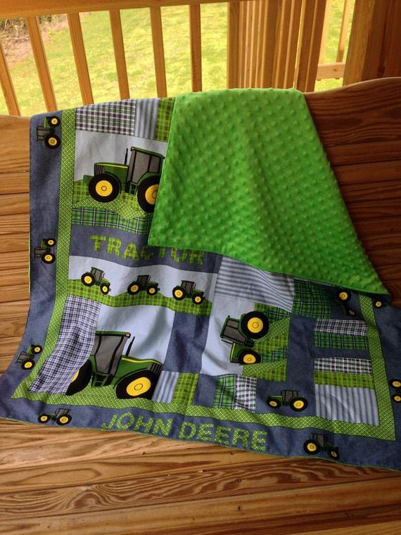 John Deere Minky Baby Toddler Blanket 42 X 36