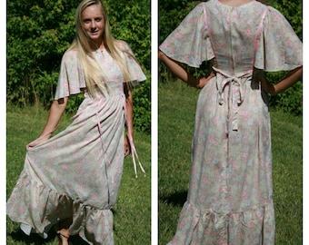Vintage 70s Hippie Dress Prairie Peasant Dress Boho Floral Dress Maxi Dress