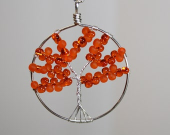 Orange Tree Of Life Teardrop Bead Necklace