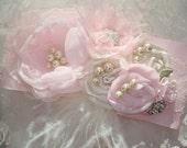 Wedding Sash, Bridal Sash, Flower Girl, Wedding, Flower Sash, Secial Occasion / Stunning Pink Chiffon Flower Sash