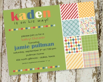 baby boy shower invitation or birth announcement, fun patterns and colors, digital, printable file (item 1245) baby shower invite