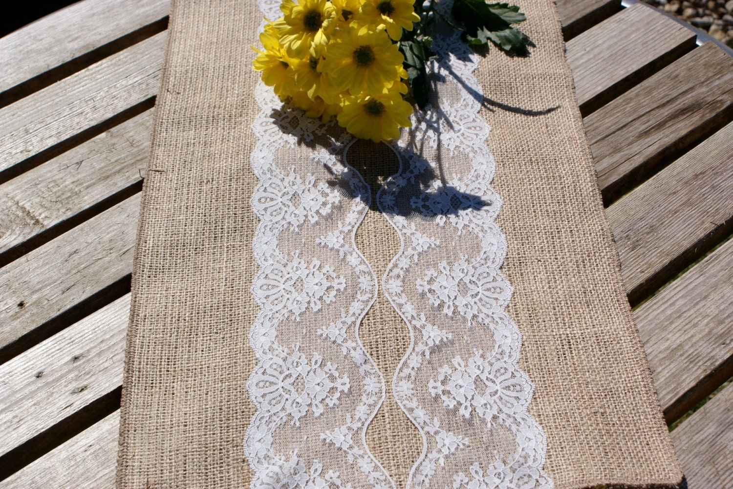 Burlap and Ivory lace table runner by Littlewhiteboutique on Etsy