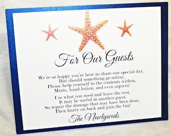 Printable wedding bathroom basket sign with starfish 8x10