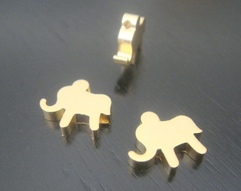 Matte Gold Tarnish Resistant mini elephant bead disk Connectors, Earring Findings, pendants, 2 pc, B56195