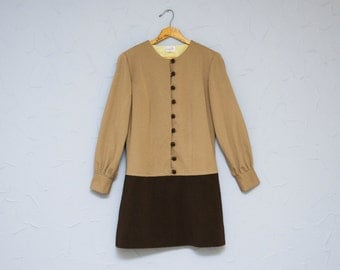 50% OFF - 60's dress: mod style, scooter dress, brown, miniskirt, M, L, mexican vintage