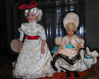 Vintage French Celluloid Girl Dolls  Lot of 2  As Found  Antique  European Collectible dolls