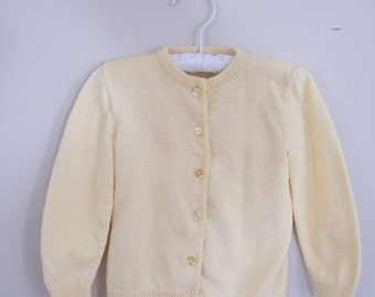 Vintage 1950s Baby Sweater / Yellow Cardigan / Baby Girl / Baby Sweater / Baby Top