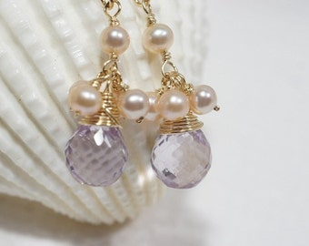 Pink Topaz Earrings Birthstone Jewelry Mother's Gift
