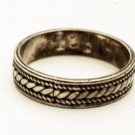 vintage handmade woven braided sterling silver ring by