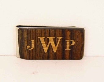 Personalized Monogram wood inlay money clip