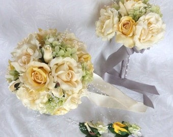 Yellow and ivory rose bouquets and boutonnieres silk bridal bouquets yellow and ivory roses green hydrangea