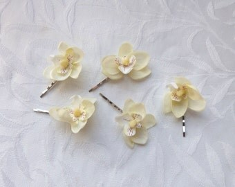 Orchid hair fascinators mini real touch phalaenopsis orchid hair clips bridal hair clip tropical fascinator