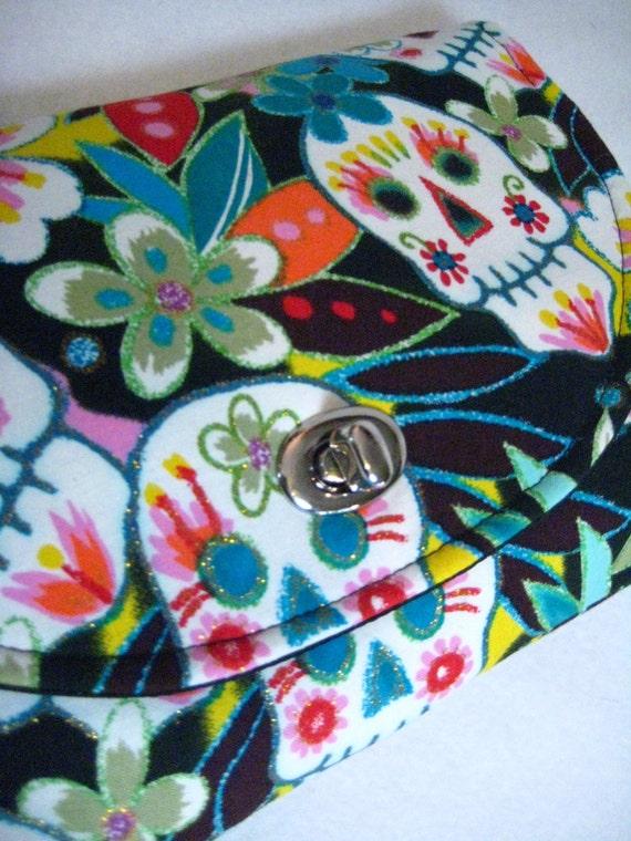 Clutch Handbag Purse with twist lock closure in Sugar Skulls Fabric