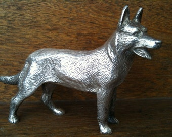 Vintage English Silver Plated German Shepherd Alsation Dog Figurine circa 1950's / English Shop