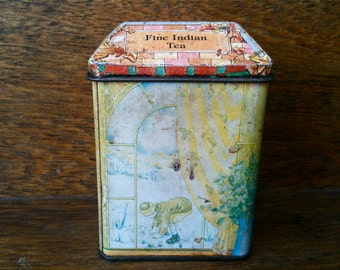 Vintage English Small House Tea Tin Box circa 1970's / English Shop