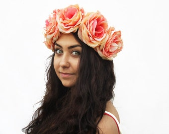 Coral Peach Flower Crown - Burning Man, Fashion, Rose Crown, Rose Headband, Pink Rose Crown, Coral, Peach, Floral Crown, Boho Chic