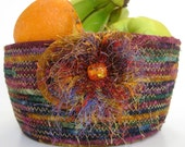 Scrappy Clothesline Rope Basket Bowl Hand Coiled Quilted
