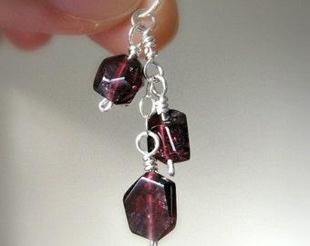 Cascade Collection: Garnet Pendant / Valentine's Day Dark Merlot Red, Rustic Stone Cluster, Unique Gothic January Birthstone Jewelry