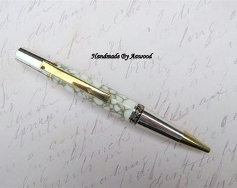 Pen Elegant Design, White an gold thread trustone office desk, purse, woodturning, college  student