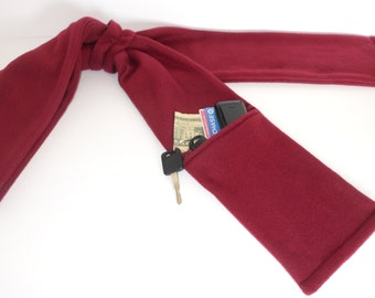 Zipper Pocket Fleece Scarf for Men and Women in Burgundy with or without fringe