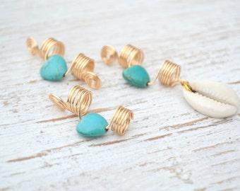 Turquoise Heart Dreadlock Jewelry