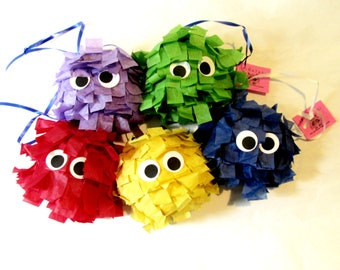 Monster Pinatas mini- Set of 5 Perfect for Party Favors / Monster Party