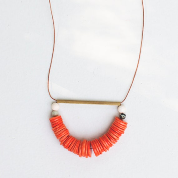 Coral & Leather Necklace