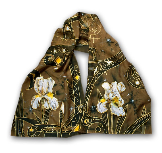 Custom order for hand-painted scarf in dark gold, elven garden, fairy fashion, elven fashion, fairy gift idea,