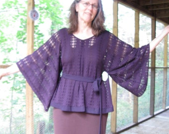 CUSTOM Knit Top with flowing sleeves and really cool belt loops