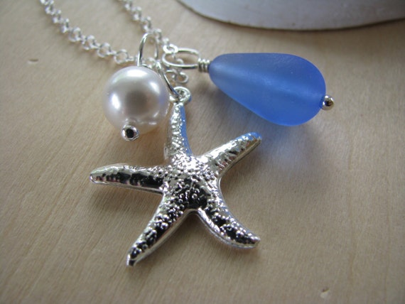 Bridesmaid Necklaces Cornflower Blue Starfish and Sea Glass Charms Bridal Beach Glass Wedding Pendants
