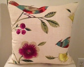 "Collier Campbell ""Singing Tree"" Multicolor Bird Designer Throw Pillow Cover, Accent Pillow Cover"