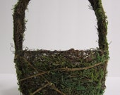 Moss and Twig Flower Girl Basket or planter
