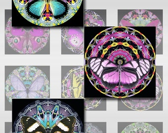 Butterfly Mandala Squares Instant Download for Glass Resin Scrabble Tile Pendants 1 and 2 Inch JPEG (12-61)