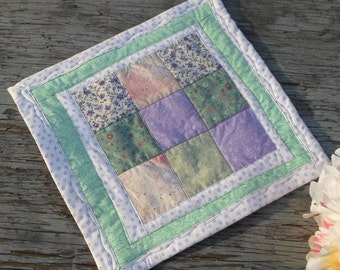SPRING, Nine Patch, Table Quilt, Candle Mat, Table Mat, One of a Kind, Original Design, So Pretty