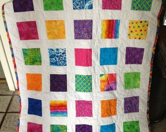 Bright, Fun, Cute  and Colorful Block/Squares Baby/Toddler Quilt