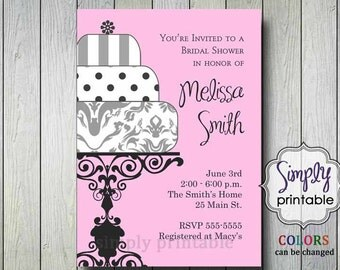 Bridal Shower Invitation Wedding Cake (Printable Digital File)