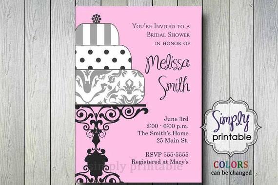 Bridal Shower Invitation Wedding Cake (Printable Digital File)