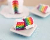 Rainbow cake earrings- As seen in  Make Craft Magazine's Blog - Hypoallergenic Sugical Steel