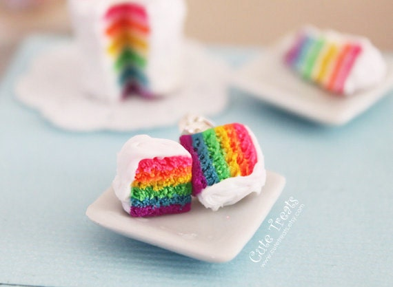 Rainbow cake earrings- As seen in  Make Craft Magazine's Blog - Hypoallergenic Sugical Steel