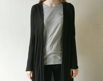 Simple black long cardigan