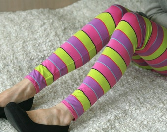 Colorful striped leggings