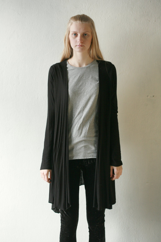 Simple black long cardigan