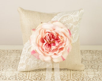 Burlap and Lace Ring Bearer Pillow with Pink English Garden Rose