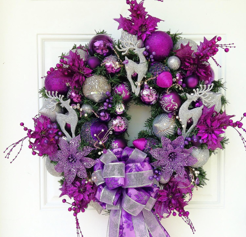 Purple Silver Christmas Wreath