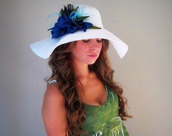 Pretty as a Peacock - White Floppy Hat for Kentucky Derby Garden Party or Weddings wide brim straw hat beach