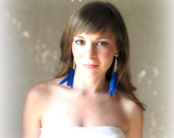 Blue Sapphire - Duck Feather Earrings - Cobalt Blue Long Silver Chain
