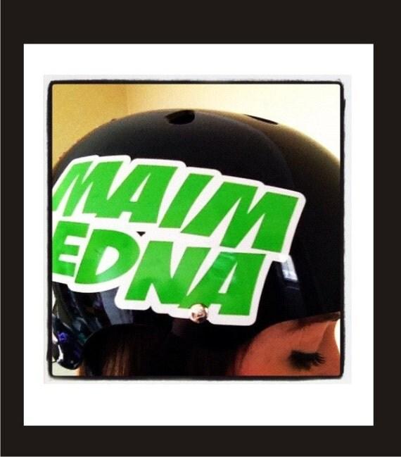 Custom Roller Derby Vinyl Sport Helmet Decal 2 color Single Name