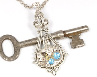 Steampunk Necklace Steampunk Vintage Watch Necklace Aquamarine Antique Silver Necklace Victorian Steampunk Jewelry by Victorian Curiosities