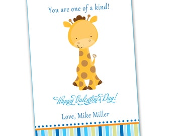 Kids Valentines Card - Lovely Giraffe Blue Stripes Boy Greeting Card Printable Personalized